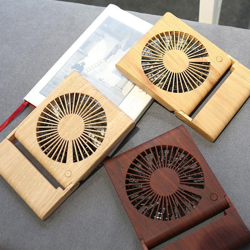 Wooden Grain Desktop Fan Stylish Mini Silent USB Charging Electric Cooling Fan