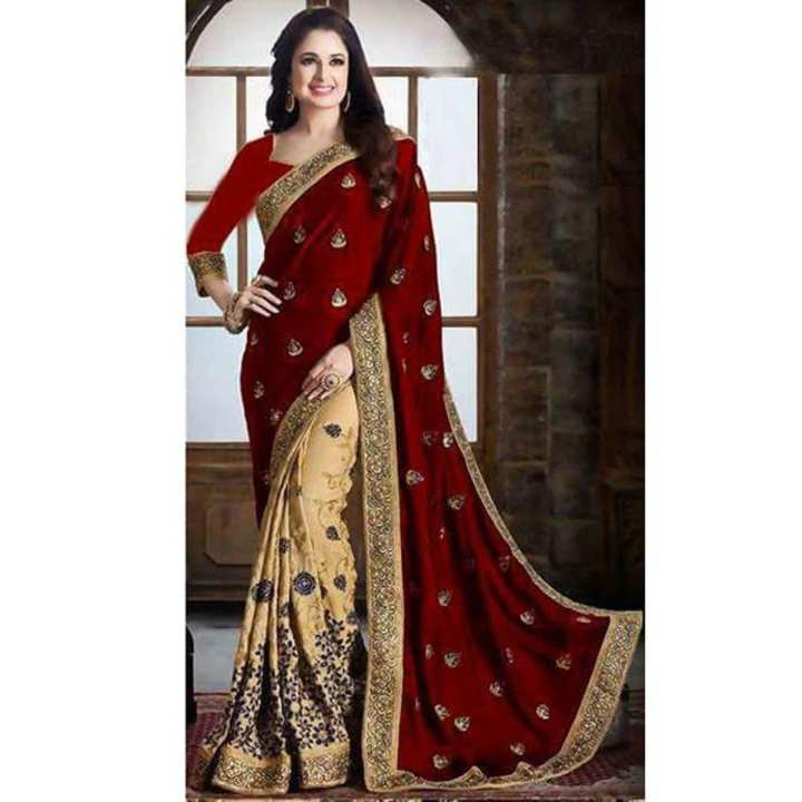 Red and Golden Georgette Saree