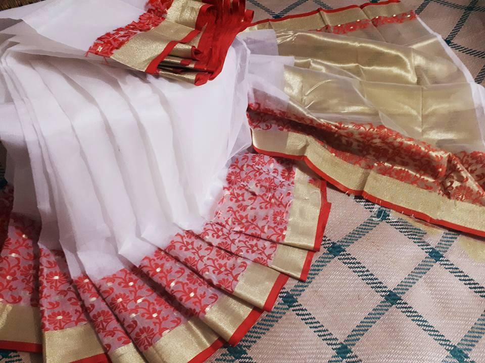 Half Silk White Jamdani Saree For Women