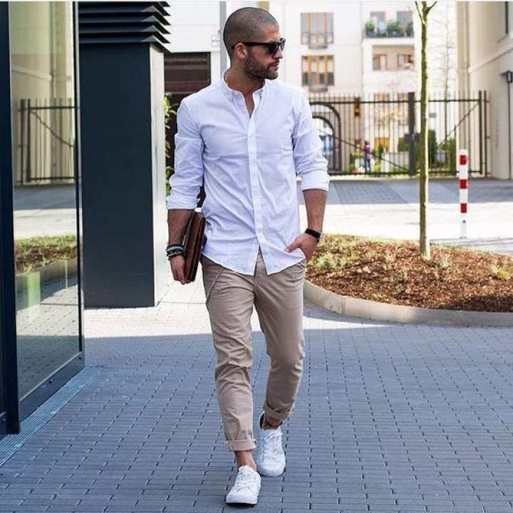 White Cotton Long Sleeves Casual Shirt For Men