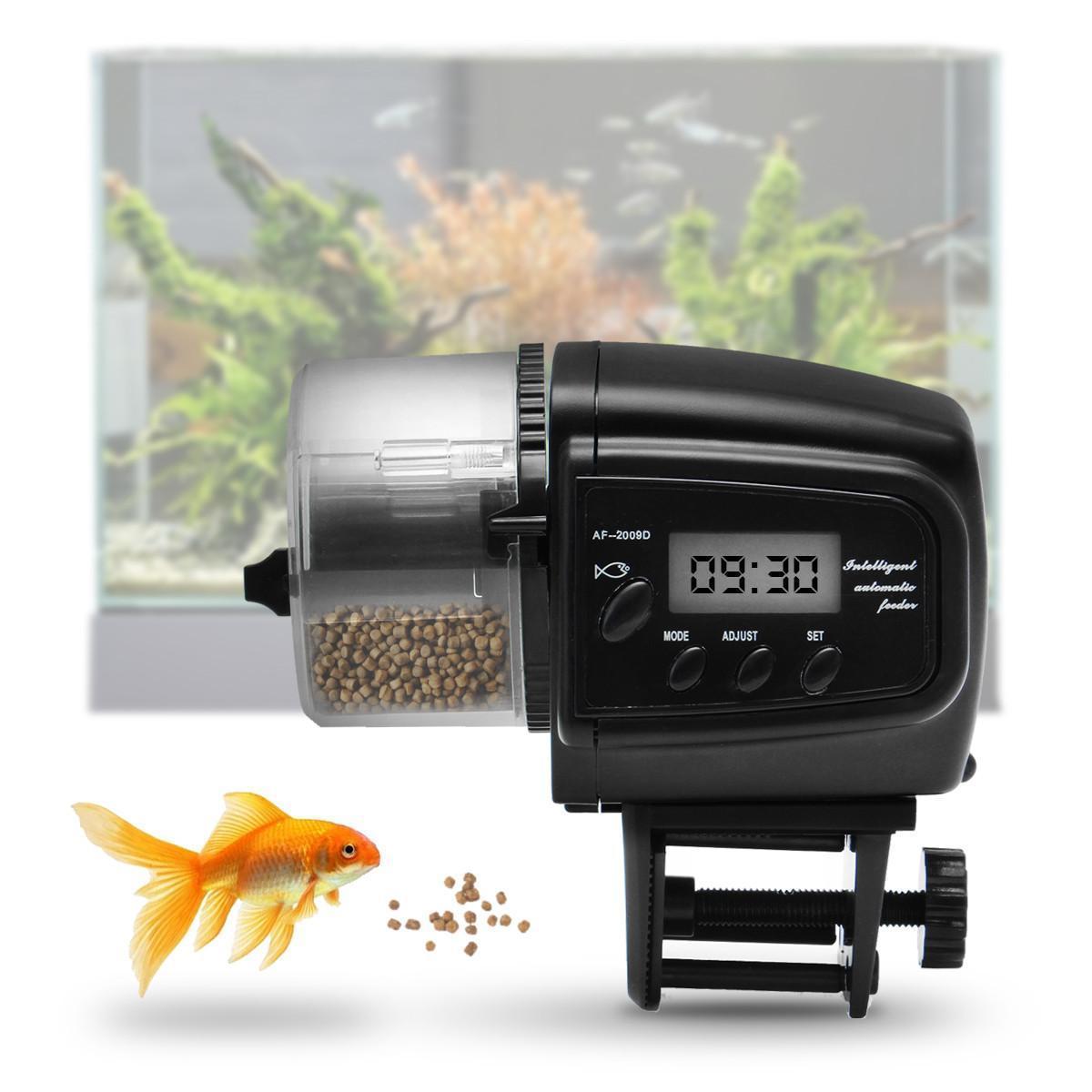 Fish Food Automatic Feeder Timer 65ML LCD Aquarium Tank Auto Feeding Dispenser