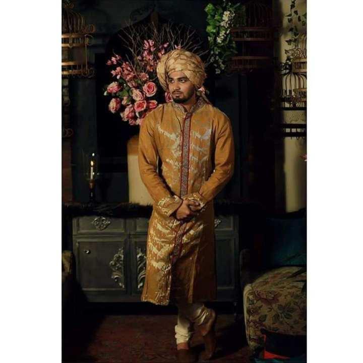 Brown and Golden Bridal Jamdani Sherwani For Men