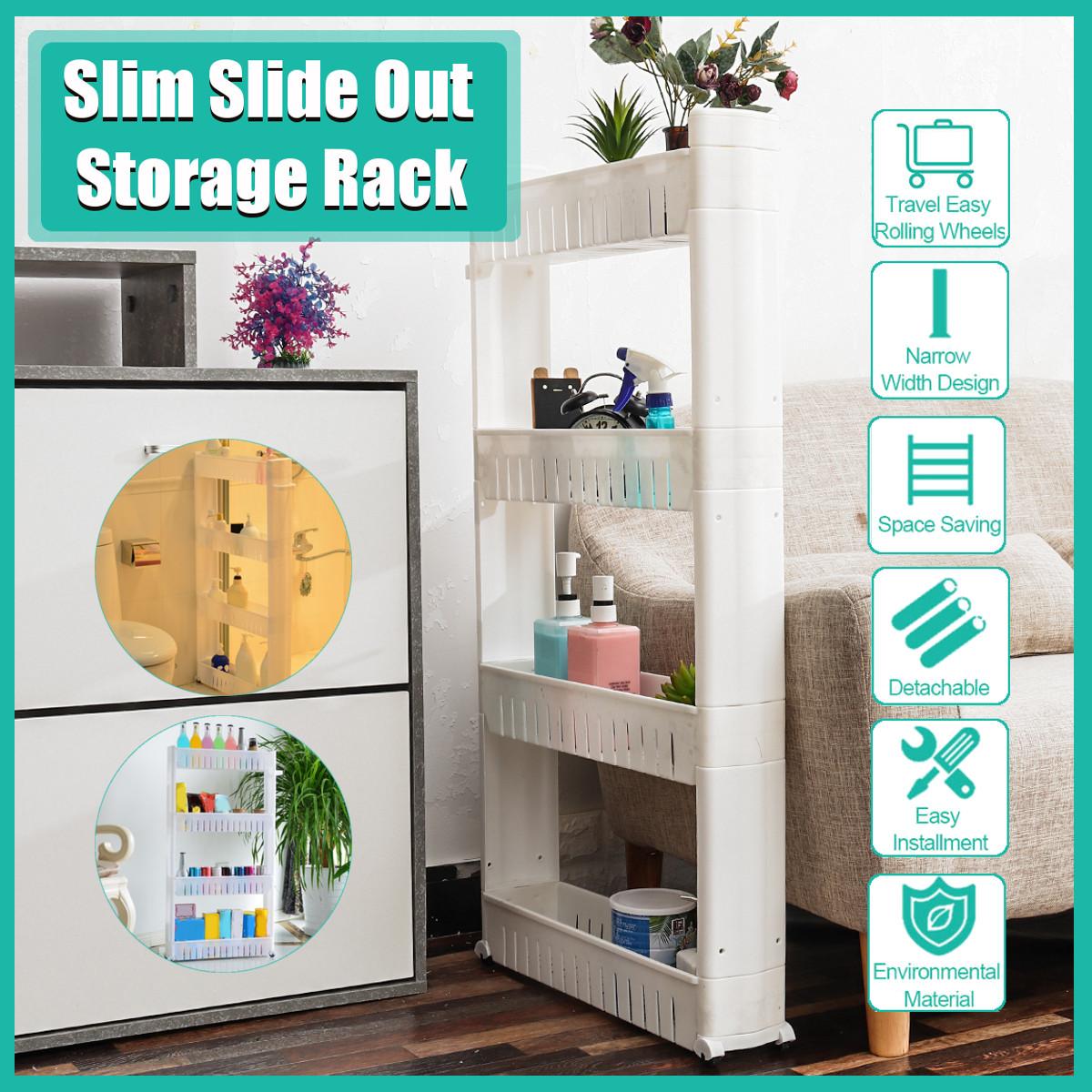 4 Tier Slim Slide Out Kitchen Bathroom Thin Trolley Cart Rack Holder Storage Shelf Organization White Buy Online At Best Prices In Bangladesh Daraz Com Bd
