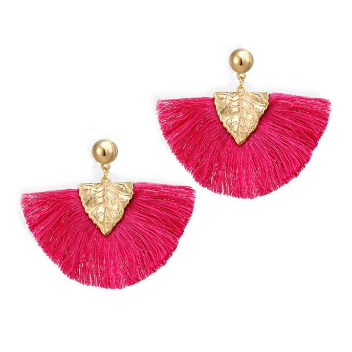 Valentines Day Special Big Tassel Drop Earrings For Women -  Pink