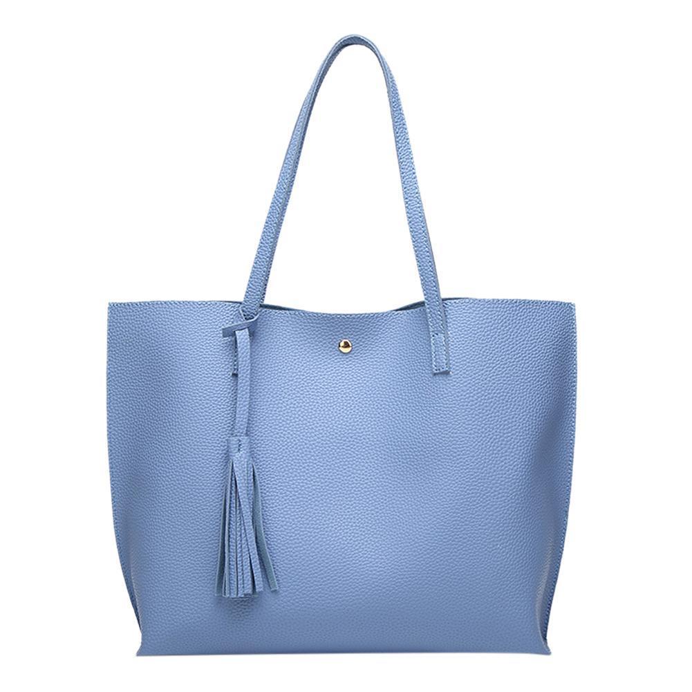 0d9d00a02948 Simple Women Leather Shopping Sling Handbag Pure Tassel Big Capacity Totes
