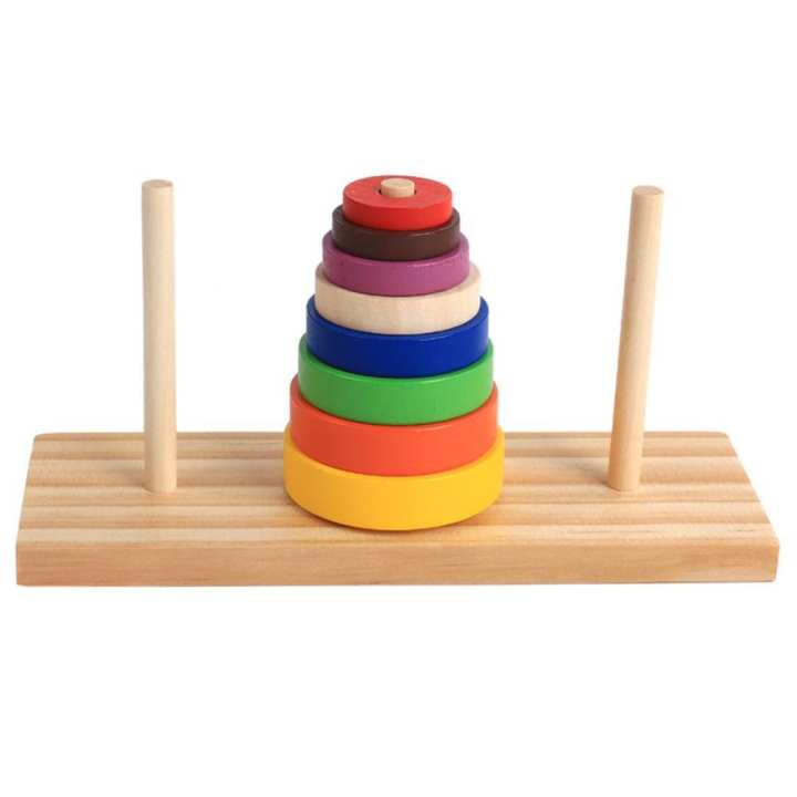 Wooden Puzzle Stacking Tower Of Hanoi Kid Mathematical Educational Toys