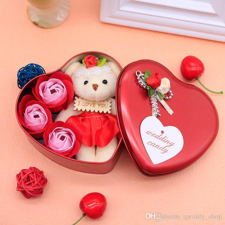 Valentine Day Love Gift -Heart Shape Gift Box (Flowers With Soft Teddy) - 11cm*11.8cm