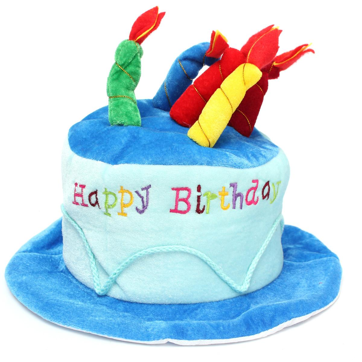 Product Details Of Happy Birthday Plush Cake Hats Novelty Cap Candles Party Supplies Lovely Costume Blue