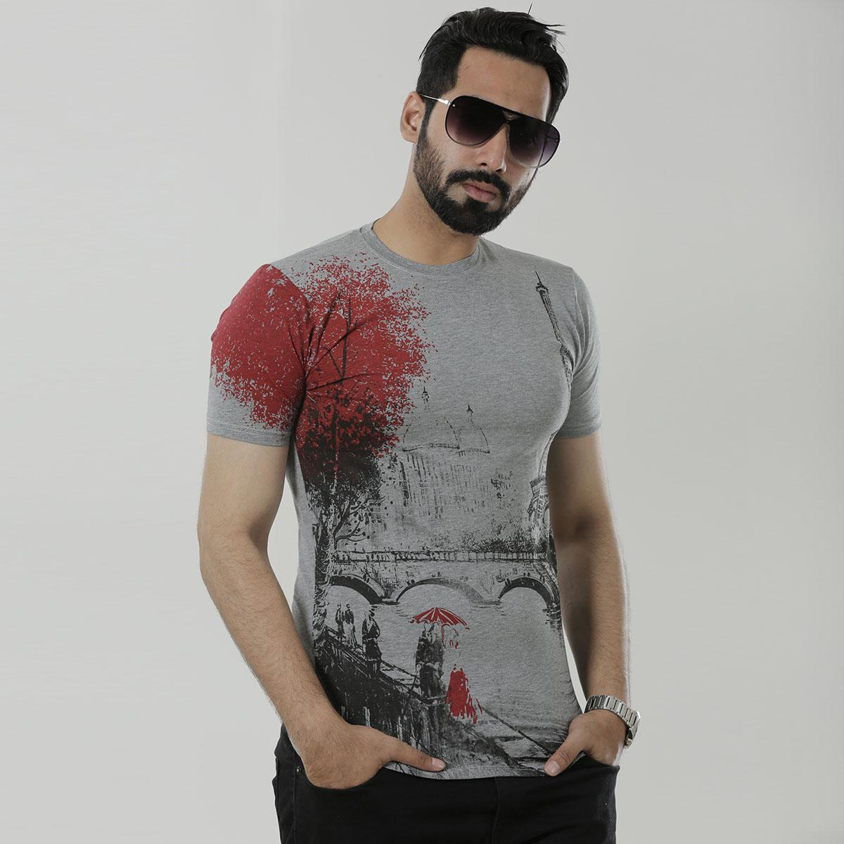 Ash Cotton Short Sleeve T-Shirt for Men