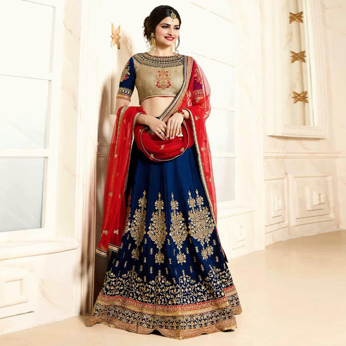 a6f736ac4 Navy Blue and Red Semi-stitched Georgette Embroidery Lehenga For Women
