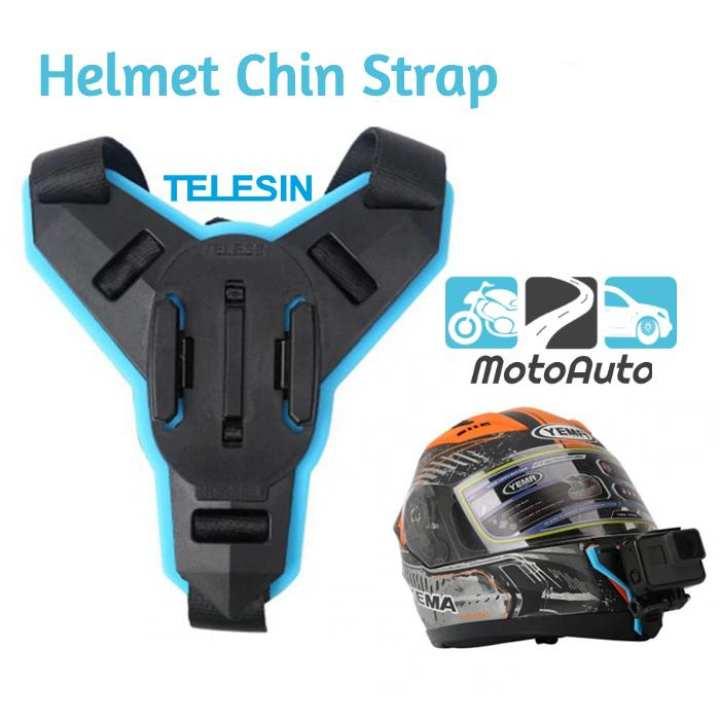 TELESIN Motorcycle Helmet Strap Mount Front Chin Mount With JHook for Action Camera like Gopro YI Mijia Eken SJCam