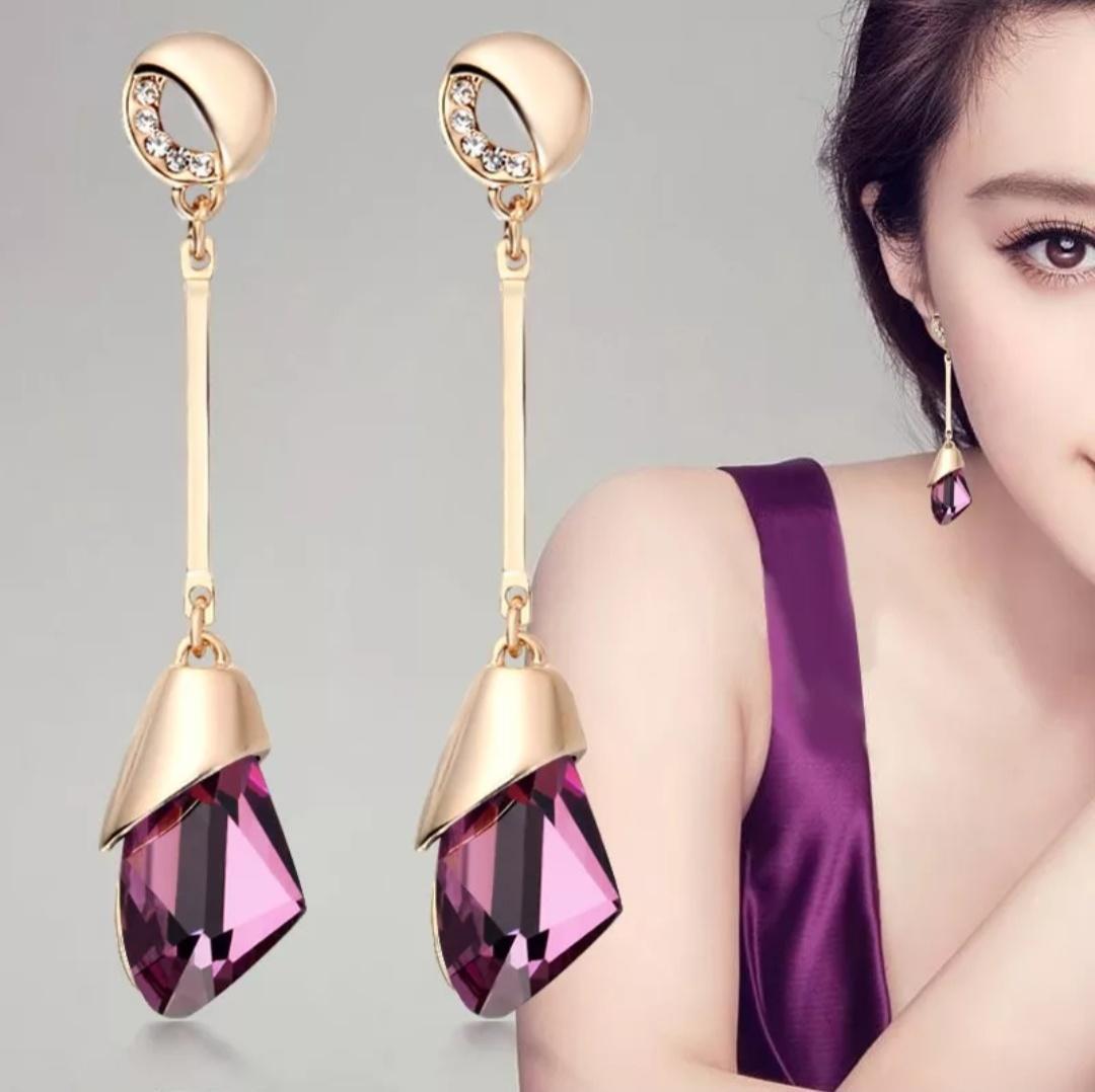 e8611d61d Classic Elegant Long Earrings For Women Fashion Geometric Crystal Gold Color  Water Drop Earring