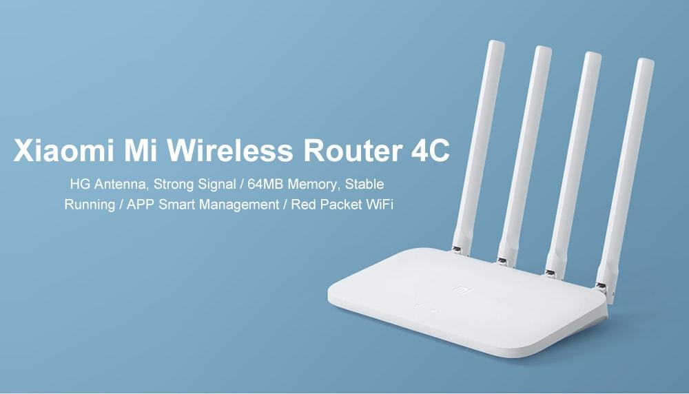 Original Xiaomi Mi 4C Wireless Router 300Mbps / Four Antennas / 2.4GHz- White