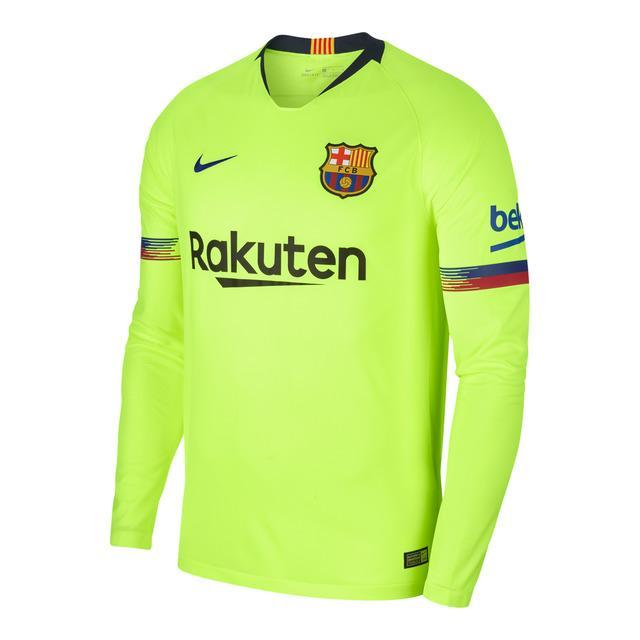 2018 - 19 Barcelona Away Long Sleeve Jersey (Thailand) - Mesh Cotton - Light 71ee9f662