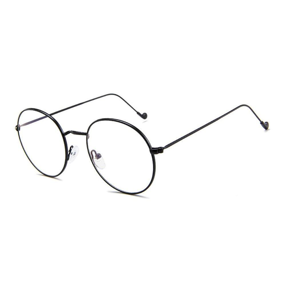 6c71c50a740a TE GD1766 Vintage Round Frame Metal Plain Glass Personality Alloy Legs  Glasses Black