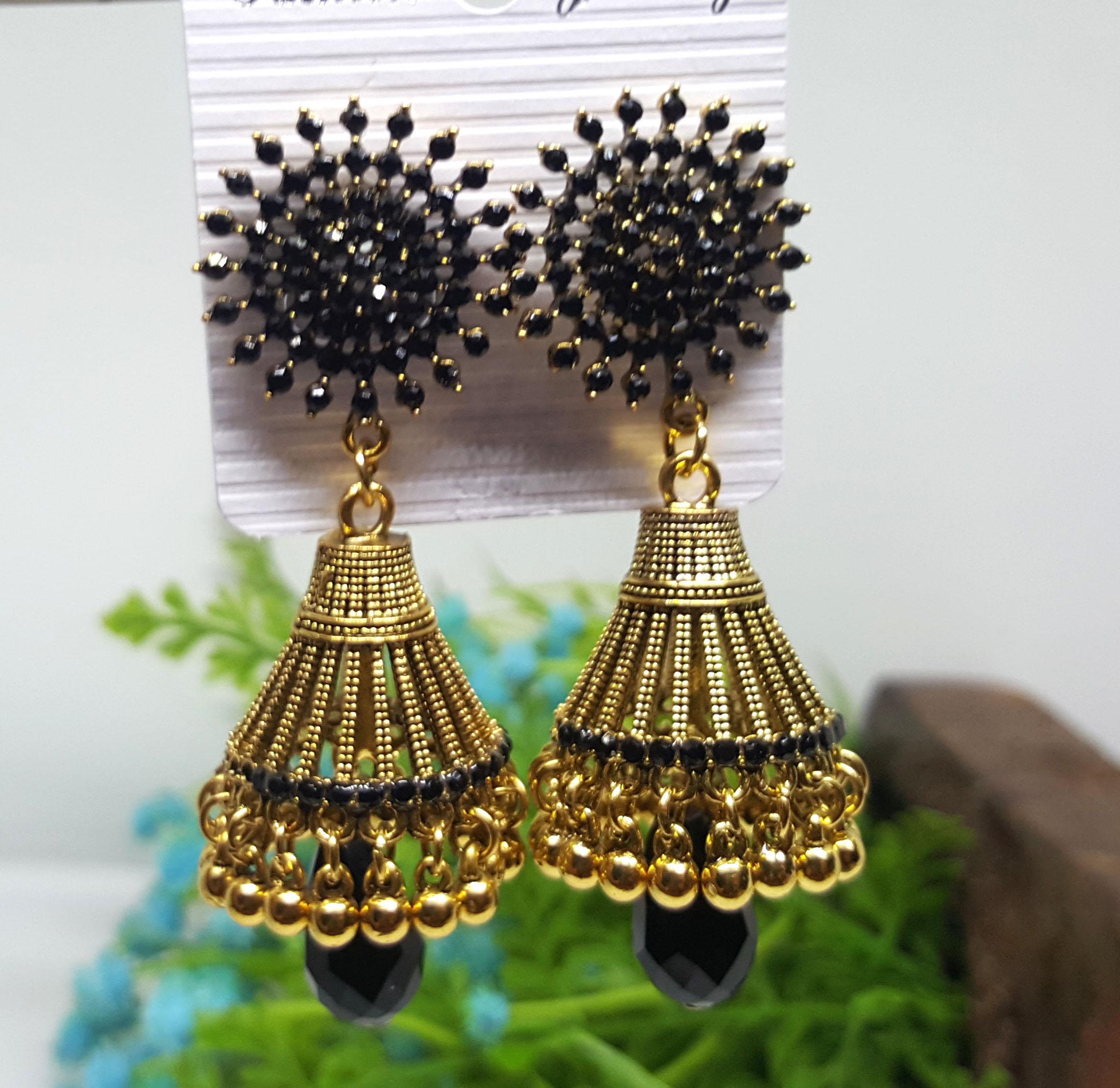 Golden VintFlea Fashion Gold Plated Stylish Pearl Jhumka Jhumki Traditional Earrings for Women and Girls