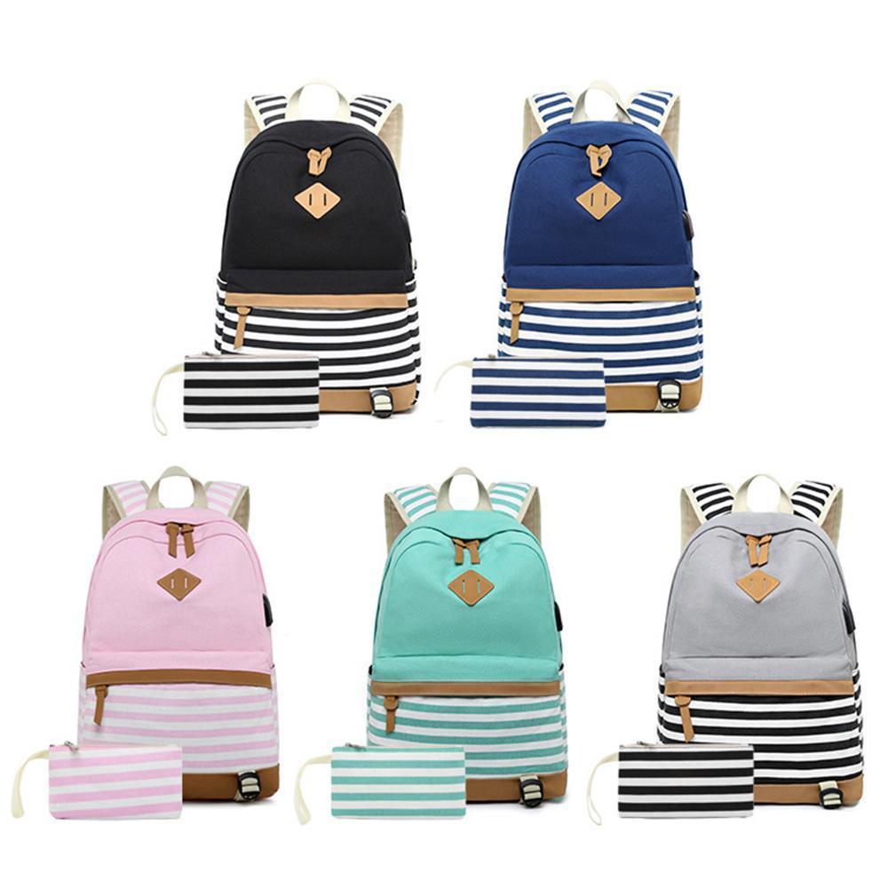 85a40be05b3a Canvas Backpack Girls Stripe School Bookbag Women College Backpack With USB  Port Black