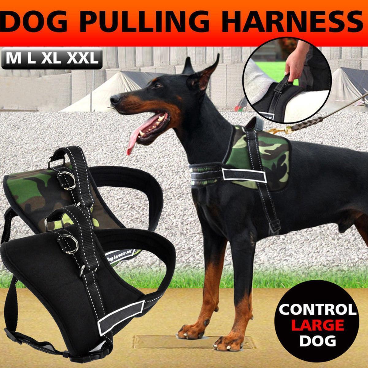 Control Dog Pulling Harness Adjustable Support Comfy Pet Pitbull Training Black L