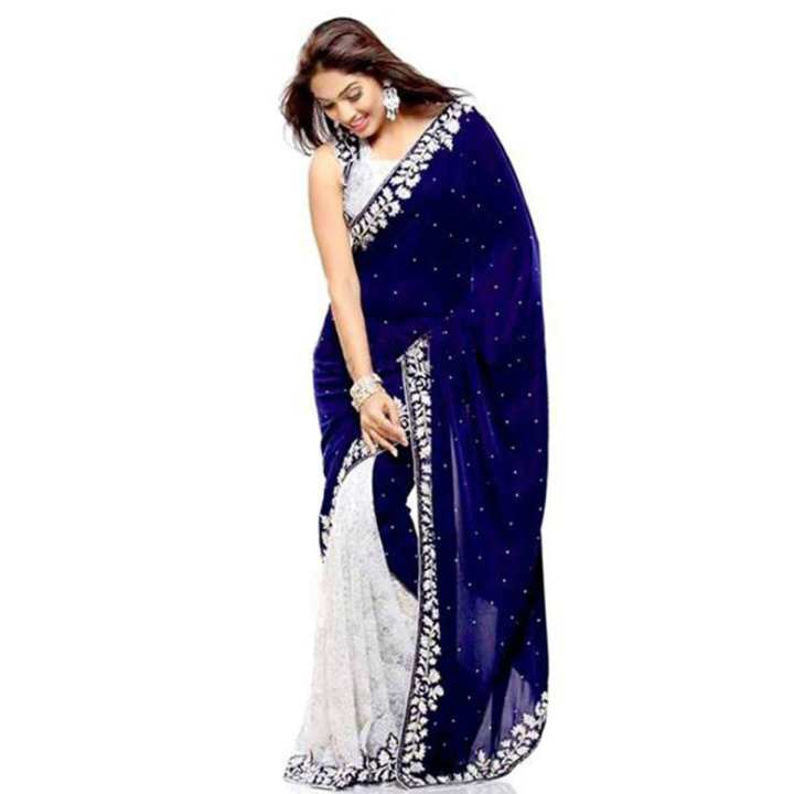 Navy Blue and White Georgette Saree For Women