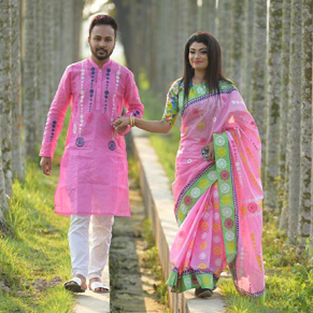 Product details of combo of pink cotton boishakhi saree and panjabi for couple
