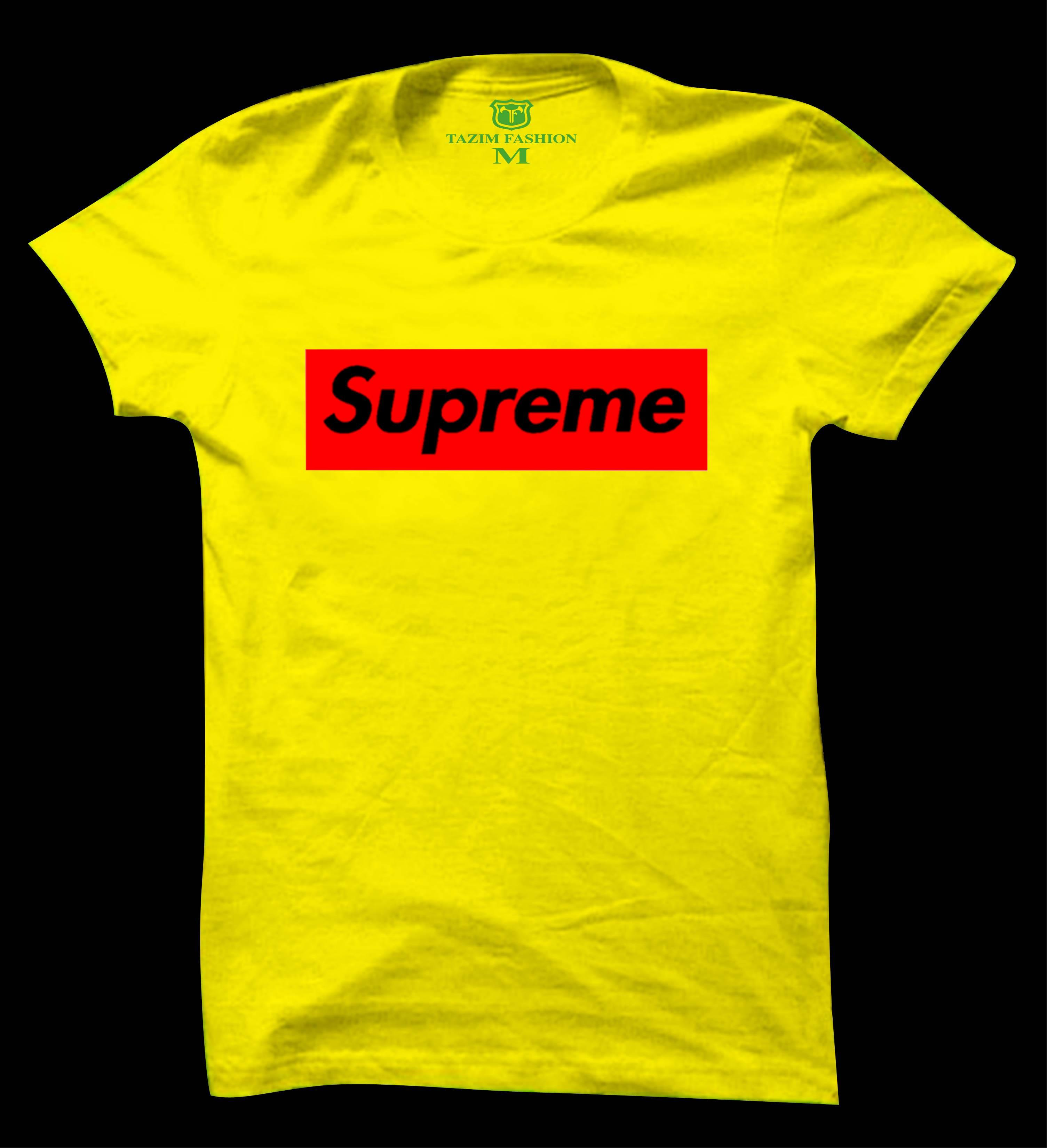 431260ca54e4 Product details of Supreme Yellow Cotton Short Sleeve T-Shirt For Men