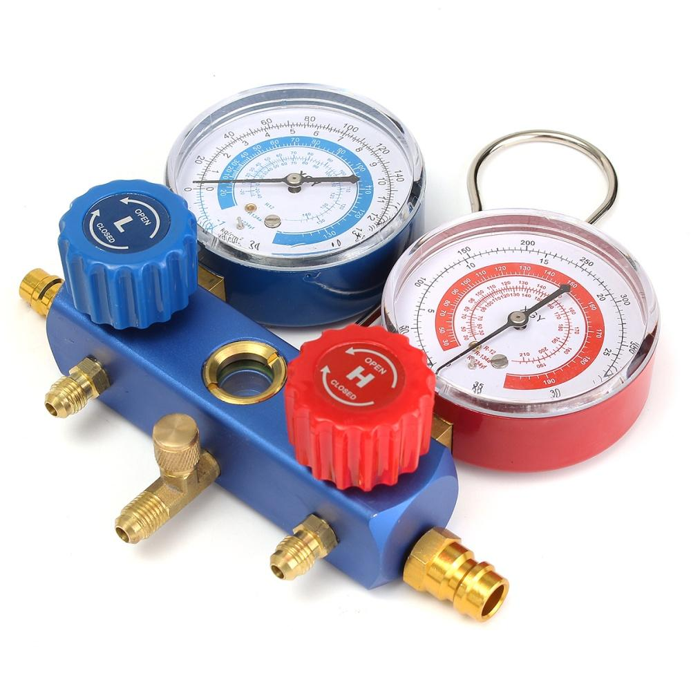 Details about HVAC A/C Refrigeration Kit Manifold Gauge Set R22 R12 R134A  Auto Refrigerant H/L Quick Coupler Adapter