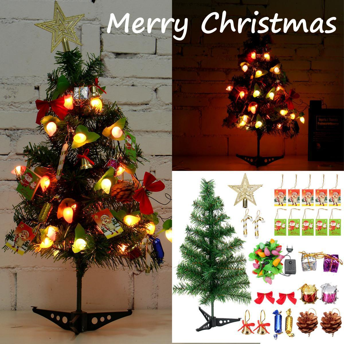 Tabletop Artificial Small Mini Christmas Tree With LED Lights /& Ornaments Decor