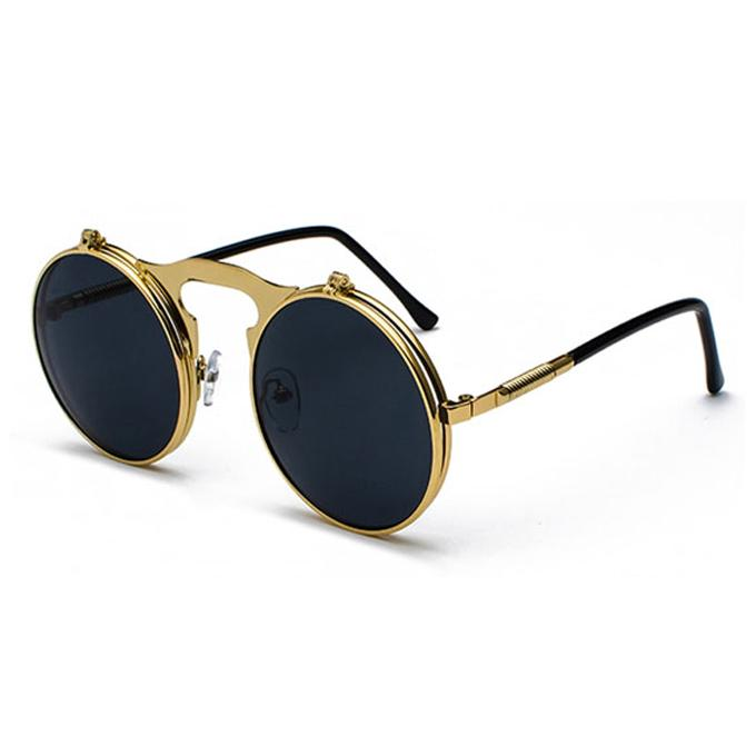 ad7ce19a07 VINTAGE STEAMPUNK Sunglasses round Designer steam punk Metal OCULOS de sol  women COATING SUNGLASSES Men Retro