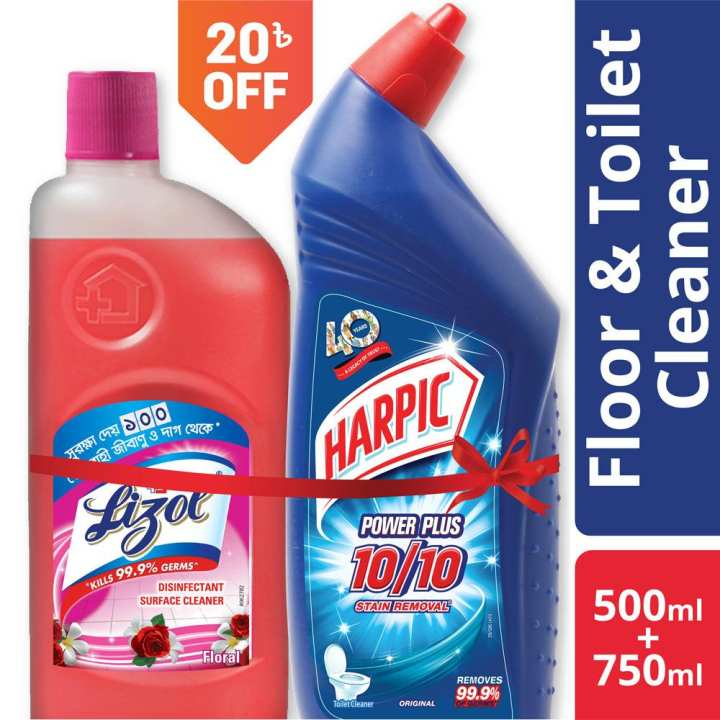 Harpic Toilet Cleaner 750ml and Lizol Floral 500ml Double Surokkha Combo
