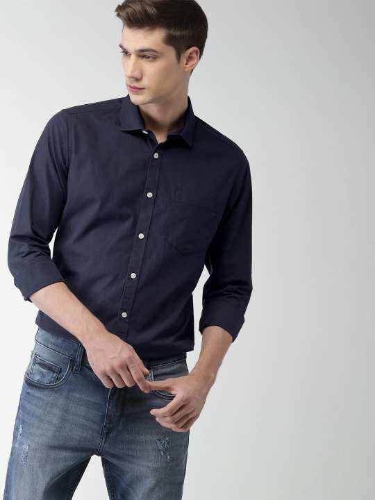 Deep Blue Cotton Shirt for Men