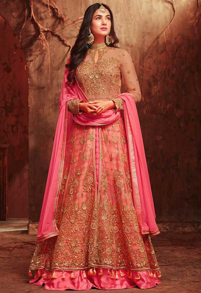 0e9e4fb651 Unstitched Pink Georgette gorgeous Exclusive, Fashionable, Stylish and  comfortable Anarkali suit for Women
