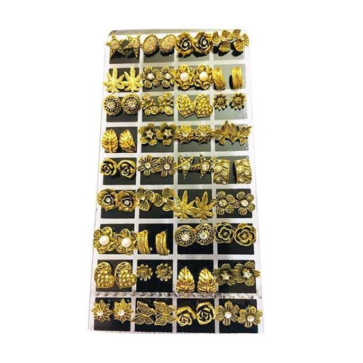 Multicolor Antique Earrings Set for Women - 36 pairs