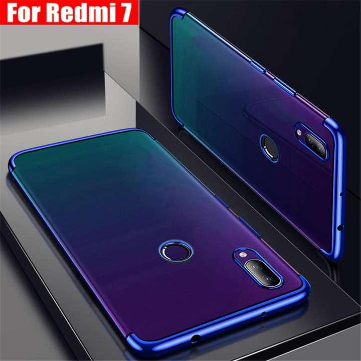 Xiaomi Redmi 7 Case Clear Laser Plating Transparent Soft Ultra Thin Back Cover Blue .