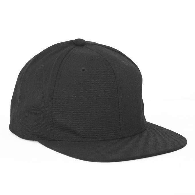 c44111f5 Black Pure Denim Adjustable Flat Visor DJ Cap for Man