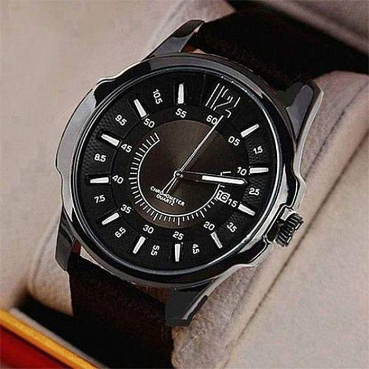 Strap Leather Analog Gents Watch – Black