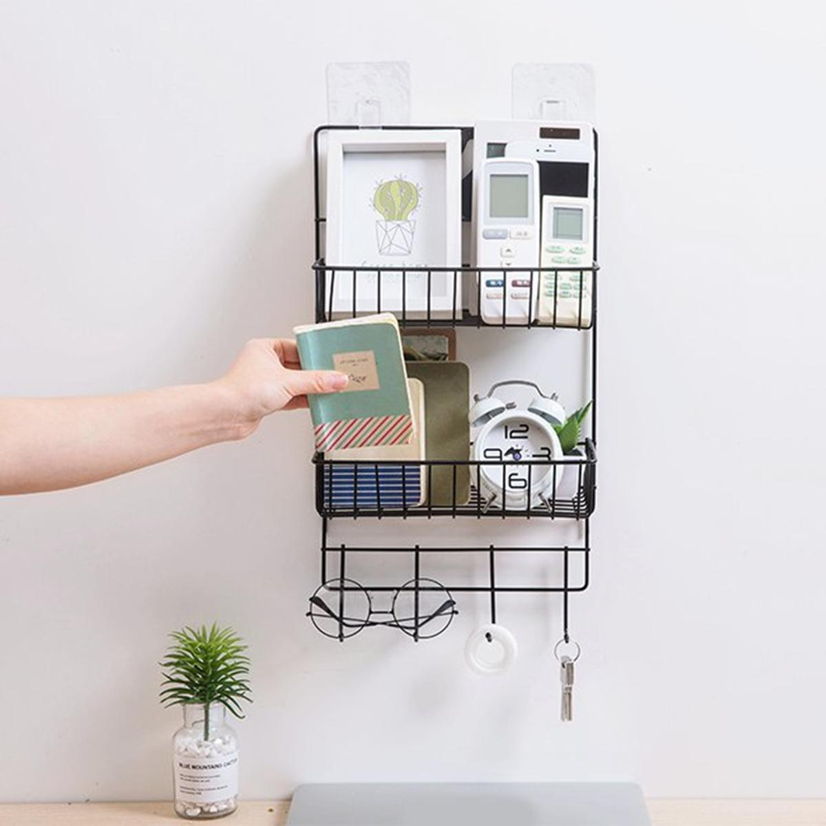 competitive price 6a04f e0afa 2 Layers Adhesive Wall Shelf Iron Keys Hanging Storage Rack Home Door  Organizer