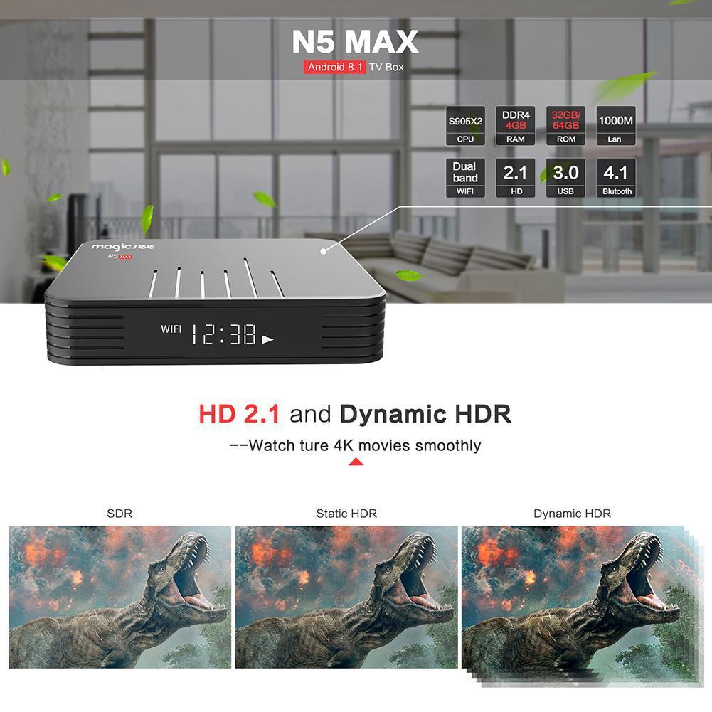 N5 Max TV Box Android 8 1 Amlogic S905X2 Quad Core 4GB WiFi 4K Set Top Box