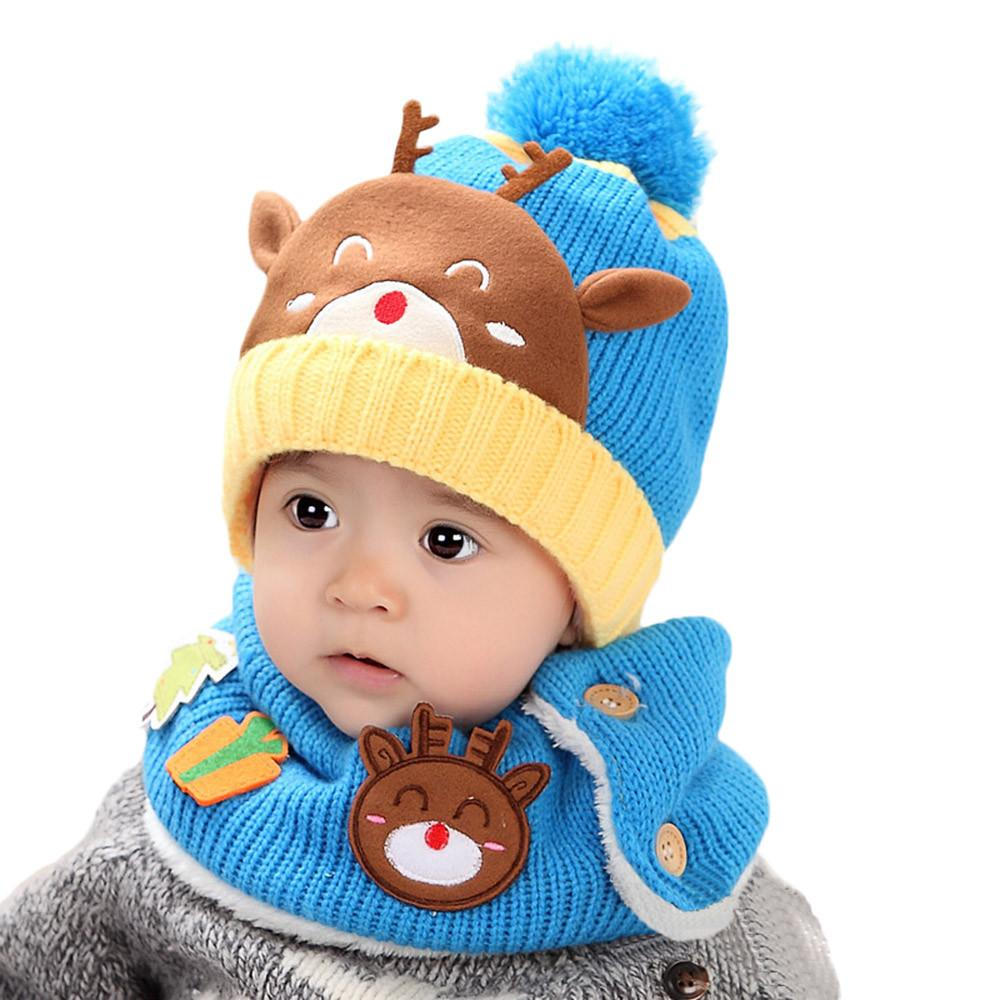 Baby Toddler Kids Boy Girl Knitted Children/'s Lovely Spire Soft Hat and scarf