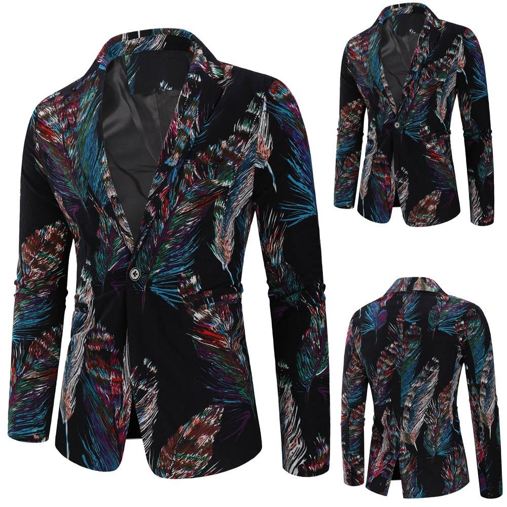 2019 New Printed Men's Fashion Dashiki Cardigan Jacket Long Sleeve Printed  Coat