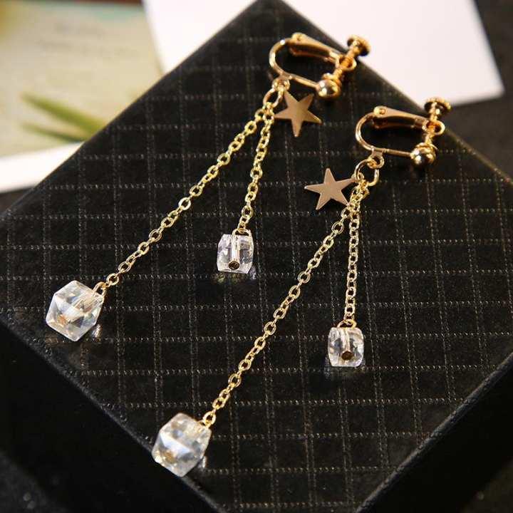 Women Long Tassel Dangle Earrings Earpin/Ear Clip Type Star Cube Gem Pendant Drop Earrings - Gold