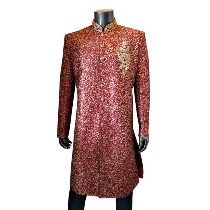 Maroon Katan Sherwani for Men