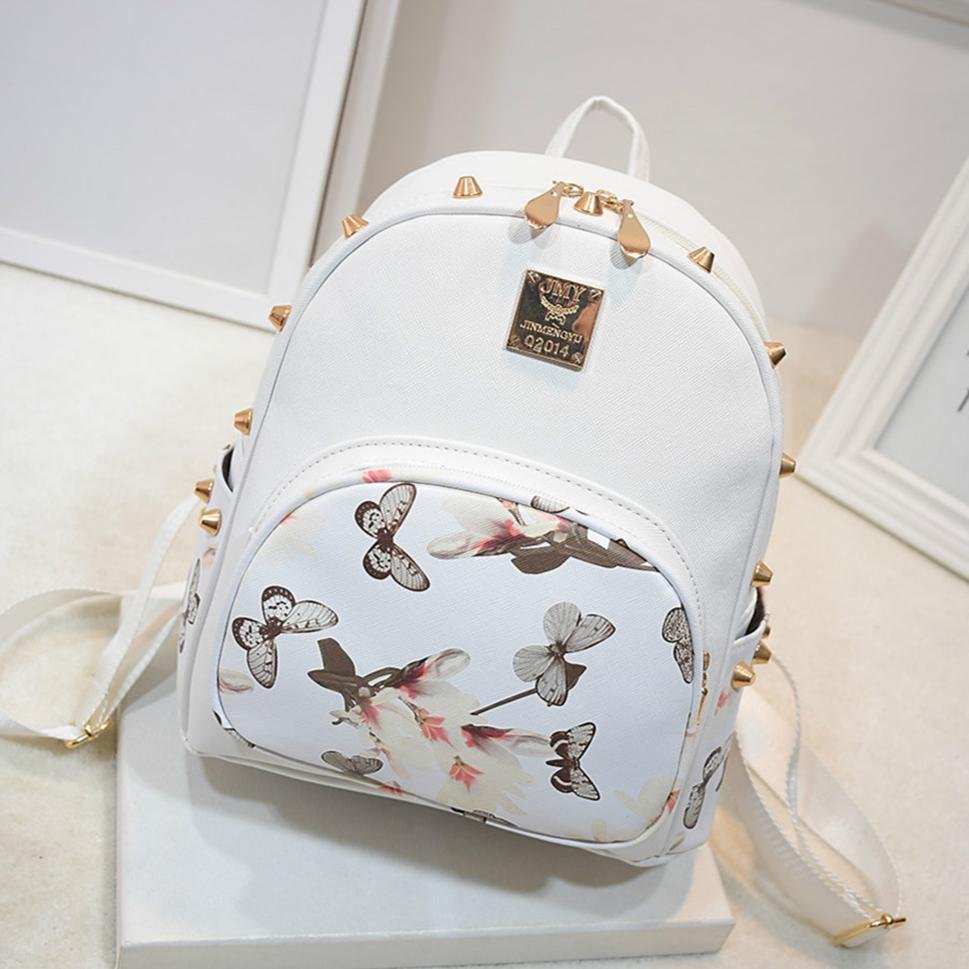 fc1cfe4170 26 X 27 X 13cm Womens Rivet Backpack Stylish Print PU Leather Satchel Bag
