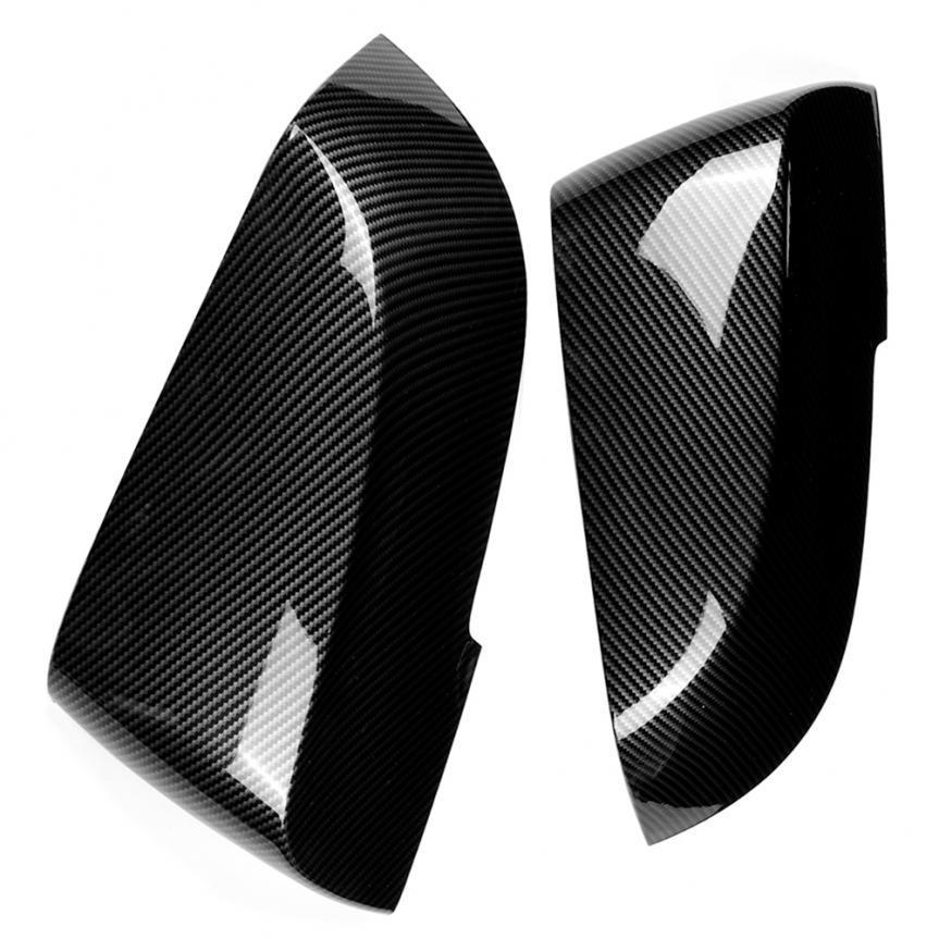 2pcs Black Carbon fiber Rear view mirror Cover Trim for Ford Focus 2015-2017