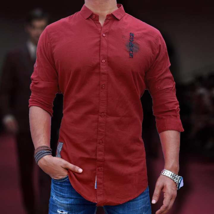 Stylish Maroon Red Cotton Shirt ( S1755 )