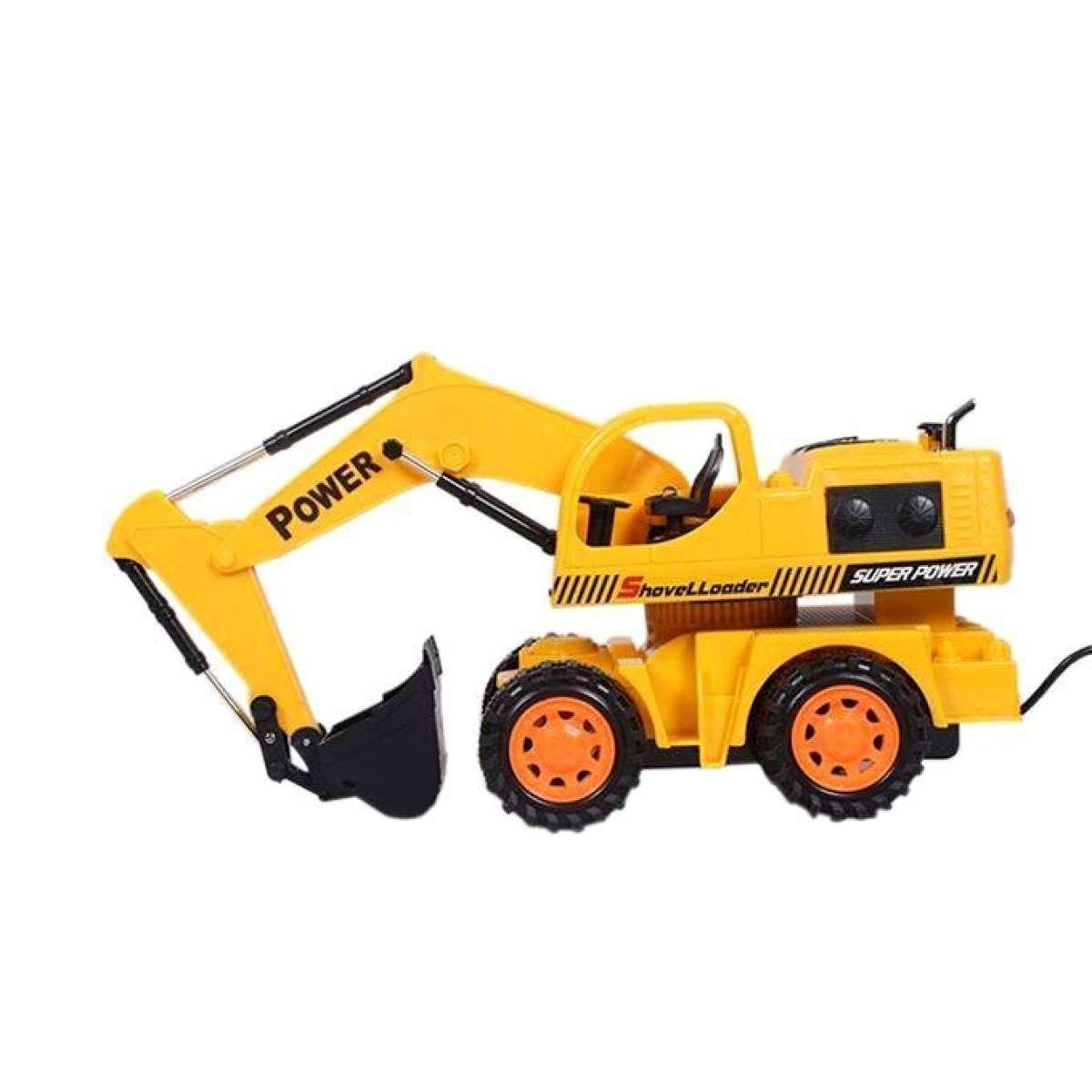 Remote Controlled Wheel Excavator - Yellow