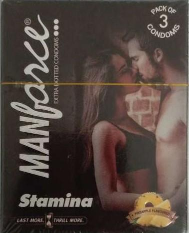 Manforce (Pineapple Flavoured ) Stamina Extra Dotted Condoms 3 Pcs