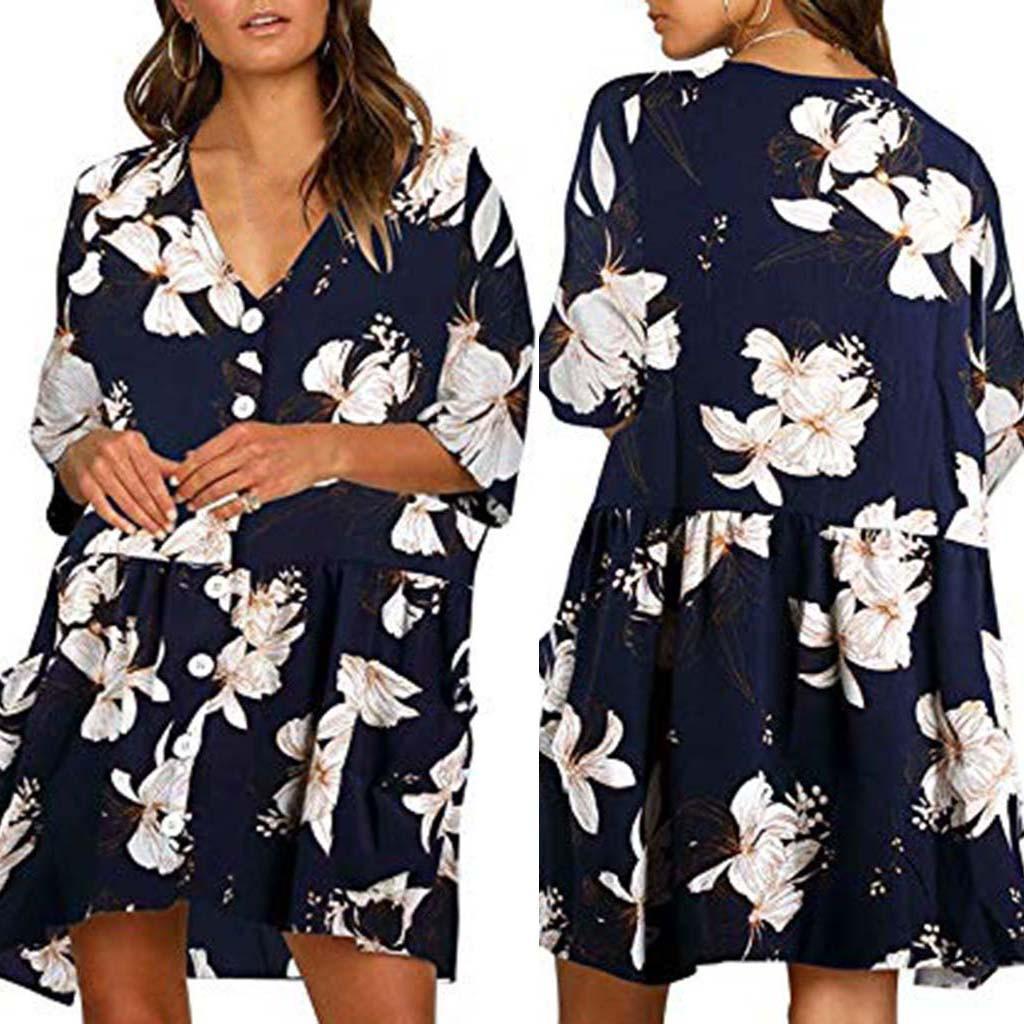 cf82bba81f Product details of Happydeal Womens Hawaiian Dresses Off The Shoulder  Floral Short Sleeve Summer Beach Dress