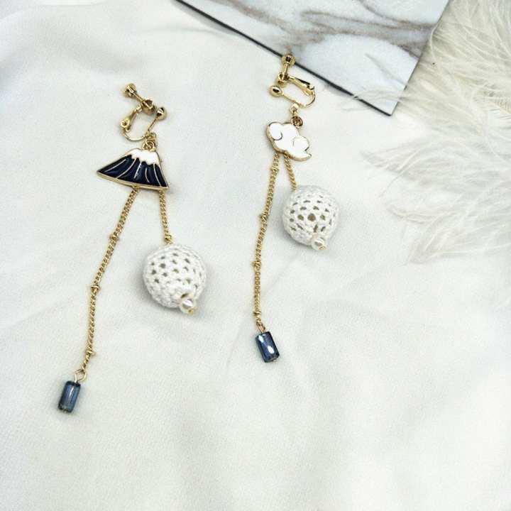 UR Women Asymmetric Long Fur Ball Earrings Elegant Gorgeous Female Earrings