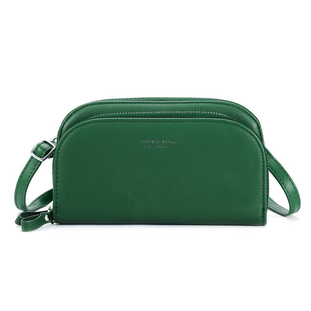 ac0acf27305a Women PU Leather Solid 8 Card Slot Card Bag Multi-slot Phone Bags Leisure  Crossbody