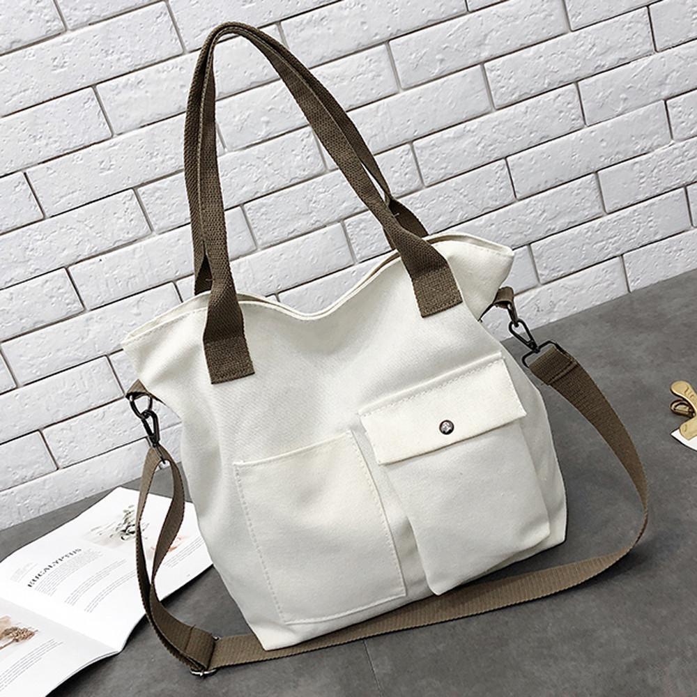 fc05bbdc05c Good Quality ✫ Unisex Fashion Solid Soft Casual Totel Bag Canvas Bag  Messenger Bag Shoulder
